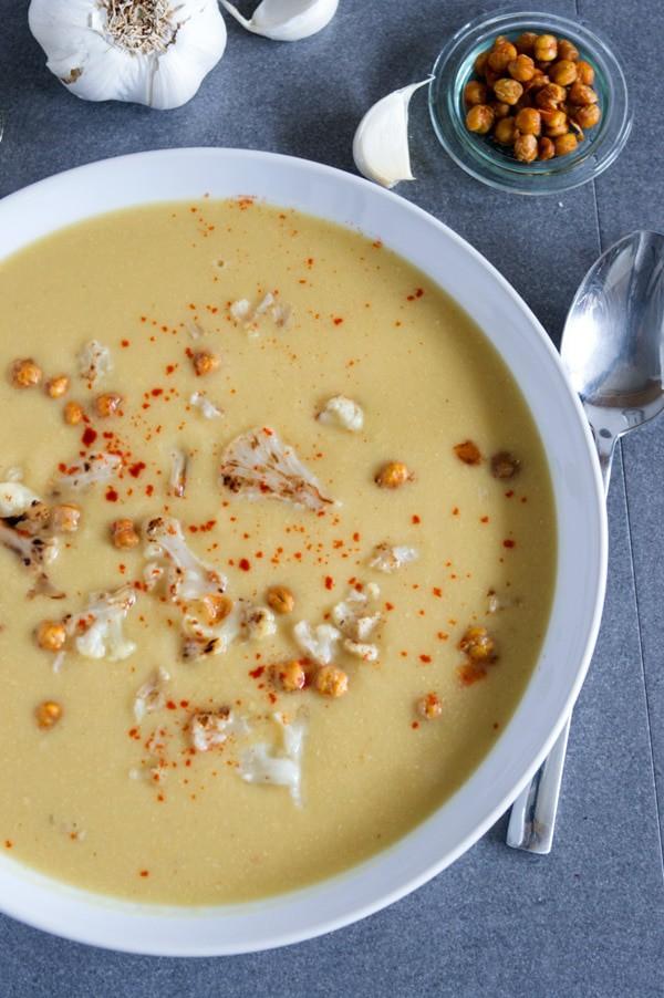 Kichererbsensuppe mit gerösteten Blumenkohlröschen, super lecker, super schnell zuzubereiten www.einepriselecker.de
