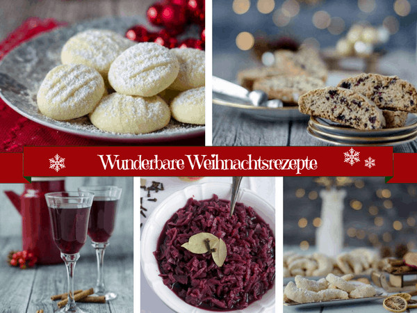 Eine Collage von fünf Bildern mit Weihnachtsrezepten.