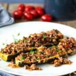 Zucchiniboote mit Hack aus dem Ofen - low carb, high protein