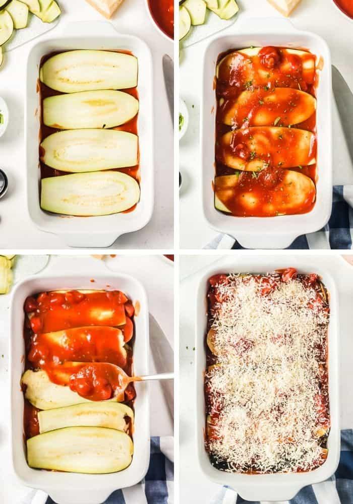 Collage aus 4 Bildern der Zubereitungsschritte