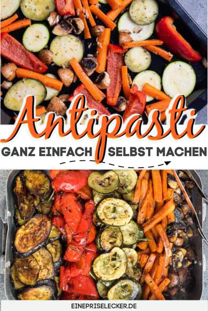Collage von 2 Bildern der Antipasti mit Text in der Mitte