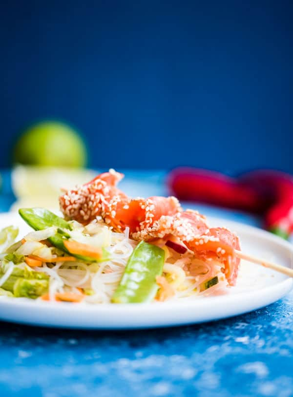 Glasnudelsalat mit Gemüse und Wildlachs am Spieß auf einem weißen Teller in Nahaufnahme frontal.