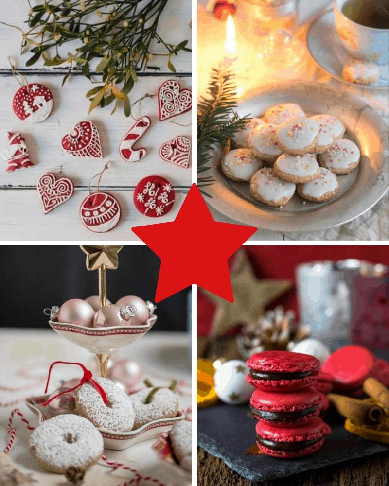 Collage mit 4 Bildern von Keksen