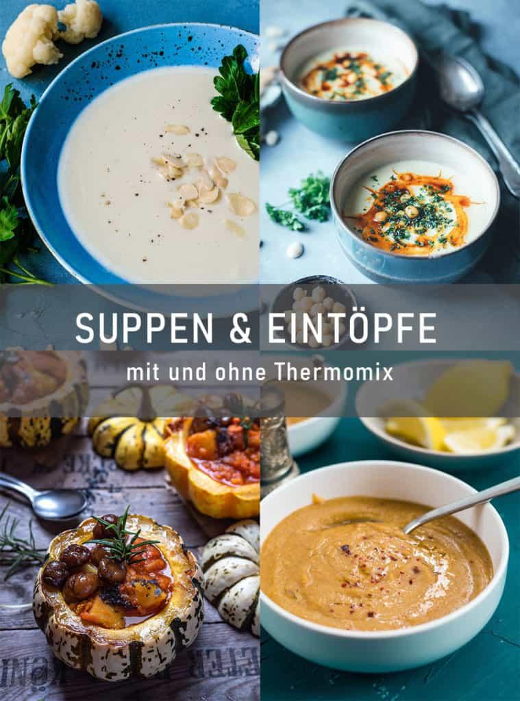 Collage von vier Fotos von Suppen mit Text in der Mitte