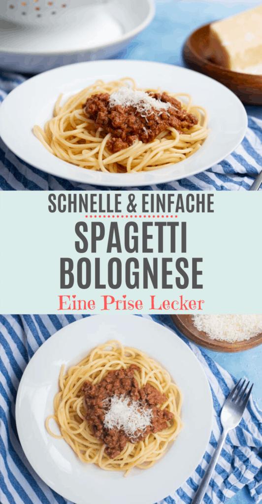 Collage von zwei Bildern mit Spagetti Bolognese mit Text in der Mitte.