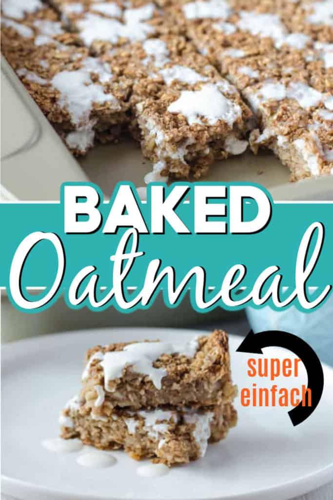 Collage von 2 Bildern des Baked Oatmeal mit Text in der Mitte