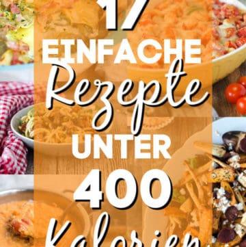 Collage von mehreren Bildern von Gerichten mit großem Text in der Mitte.