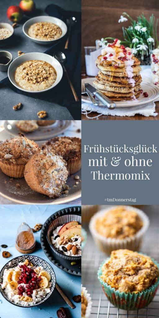 Collage von 5 Bildern von Frühstücksrezepten