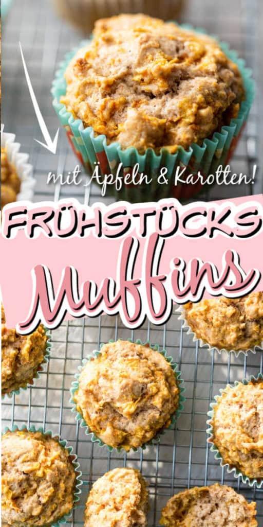 Collage von zwei Bildern der Muffins mit Text in der Mitte