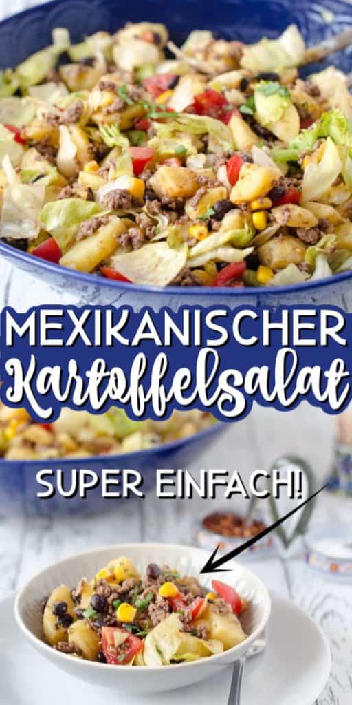 Collage von 2 Bildern des Kartoffelsalats mit Text in der Mitte