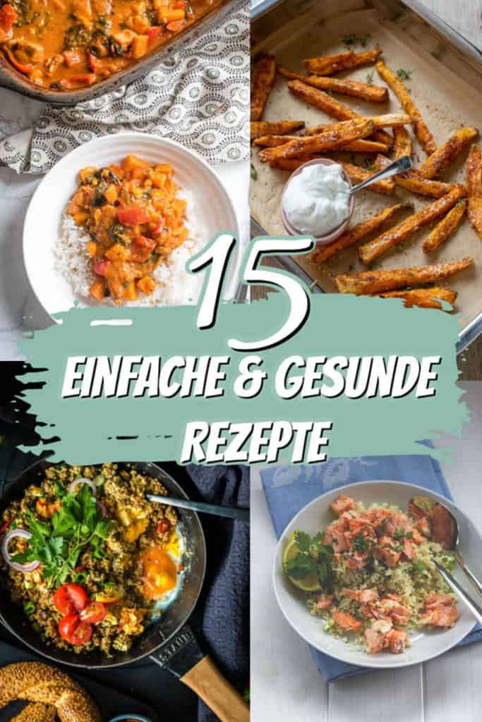 Collage mit 4 Bildern von gesunden Gerichten mit Text in der Mitte