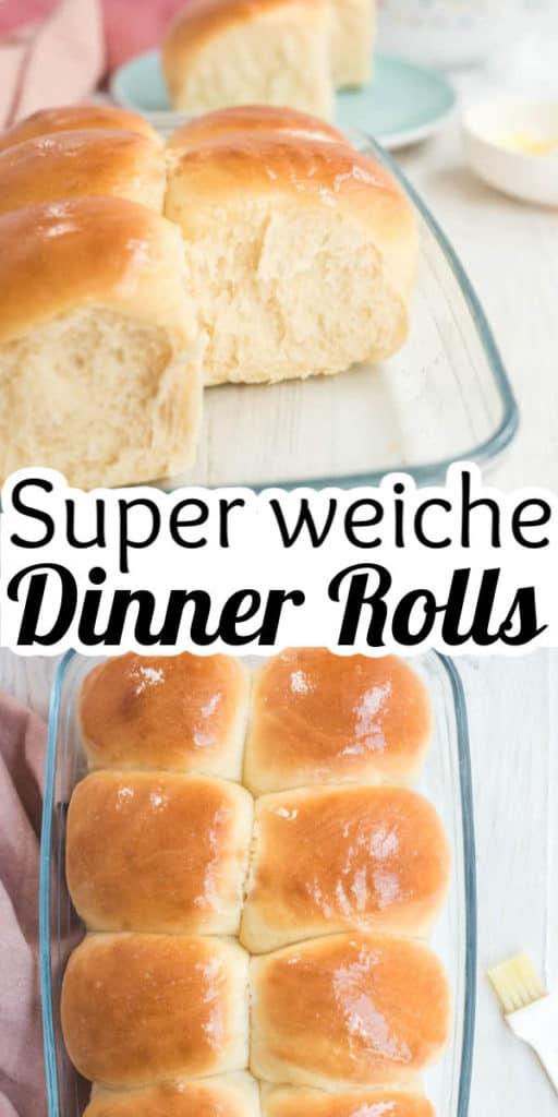 Collage von 2 Bildern der Dinner Rolls mit Text in der Mitte