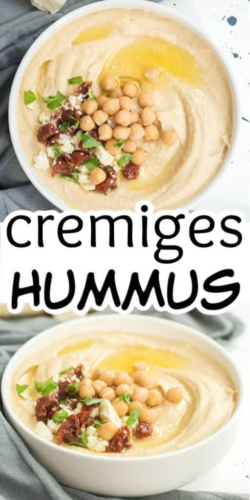 Collage von zwei Bildern des Hummus mit Text in der Mitte