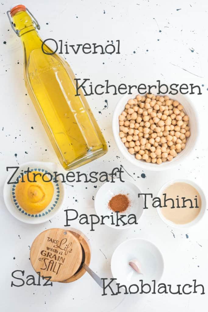 Zutaten für das Hummus mit Beschriftung von oben fotografiert