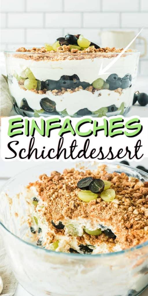 Collage von 2 Bildern des Weintrauben-Schichtdesserts mit Text in der Mitte
