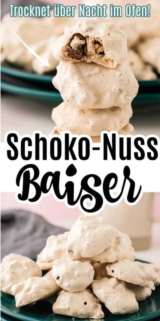 Collage von zwei Bilder der Schoko-Nuss-Baiser mit Text in der Mitte