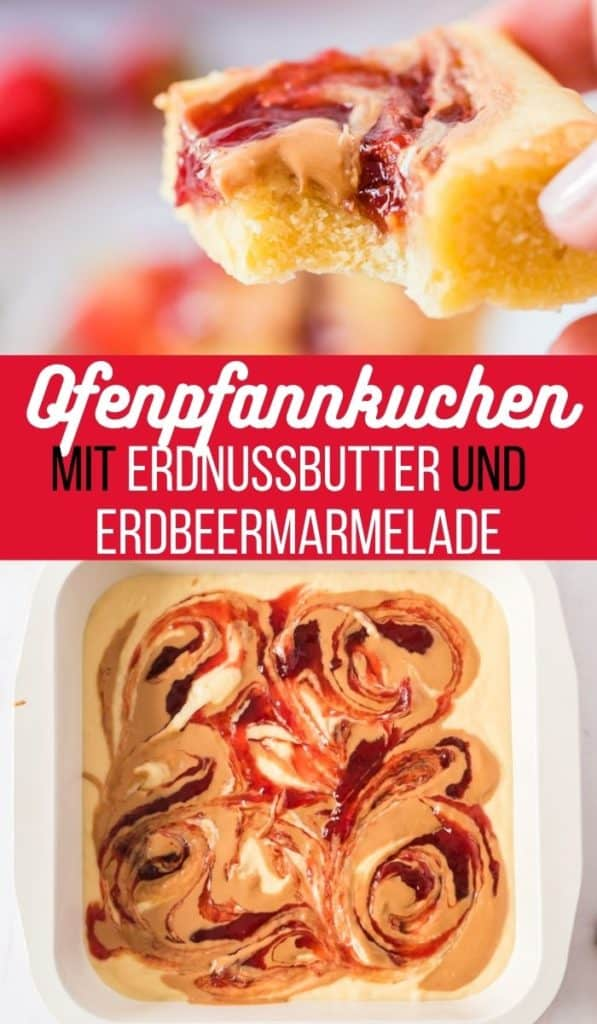 Collage von zwei Bildern der Ofenpfannkuchen mit Text in der Mitte