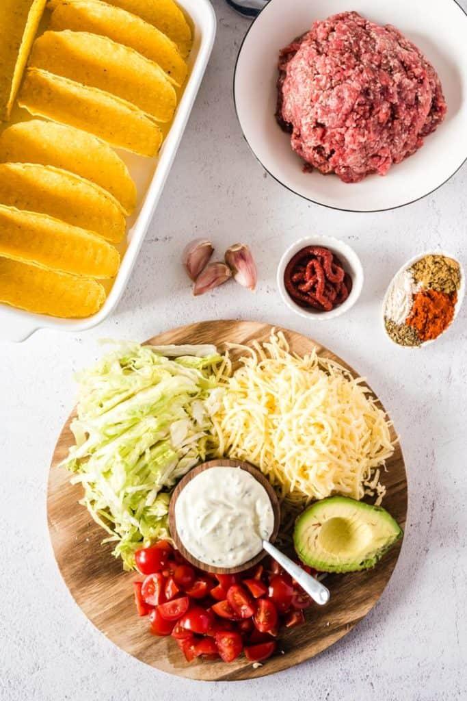 Zutaten für die überbackenen Tacos
