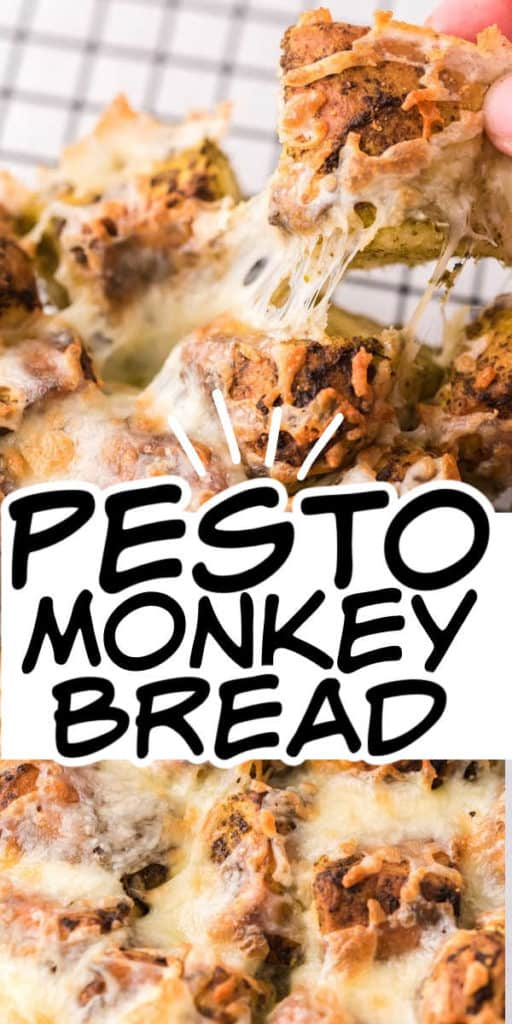Collage aus 2 Bildern des Pesto-Monkeybread mit Text in der Mitte