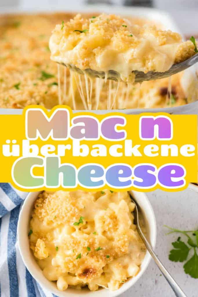 Collage von zwei Bildern der Mac and Cheese mit Text in der Mitte
