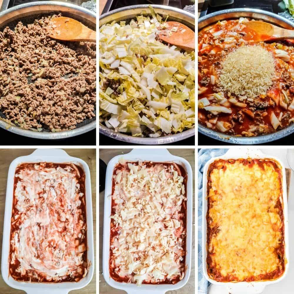 Collage von 6 Bildern von den Zubereitungsschritten für den Reisauflauf