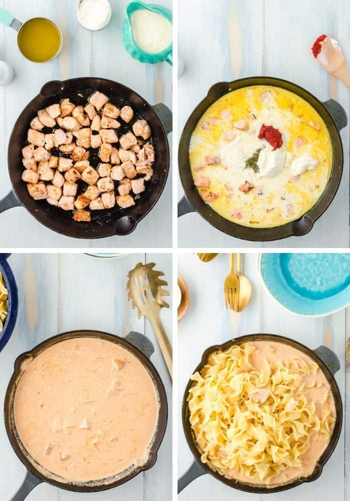 Collage von 4 Bildern der einzelnen Zubereitungsschritte