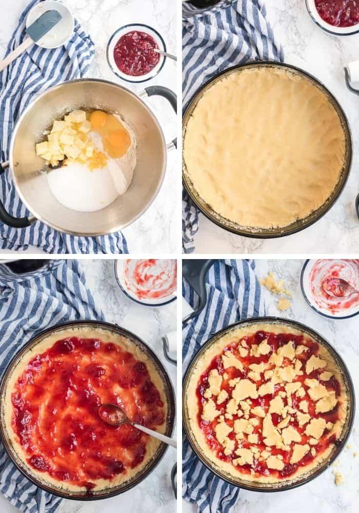 4 Bilder der Zubereitungsschritte für die Crostata in Collage