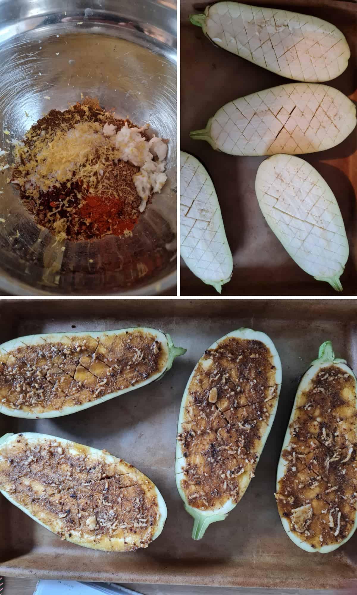 Drei Bilder der Zubereitungsschritte für gebackene Aubergine als Collage