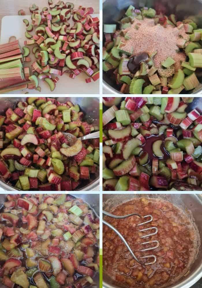 6 Bilder der Zubereitungsschritte für das Rhabarberkompott