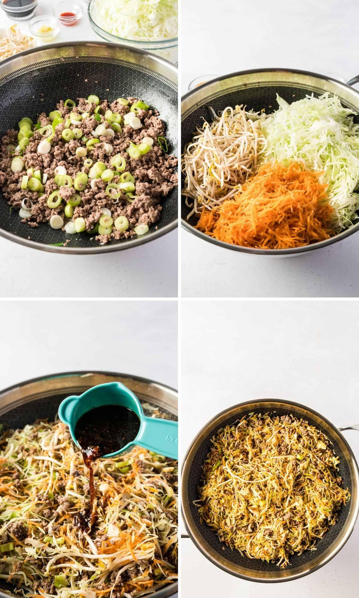 4 fotos der Zubereitungsschritte für die Eggroll bowl